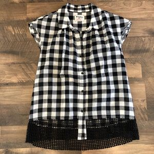 Anthro Holding Horses black & white gingham top XS
